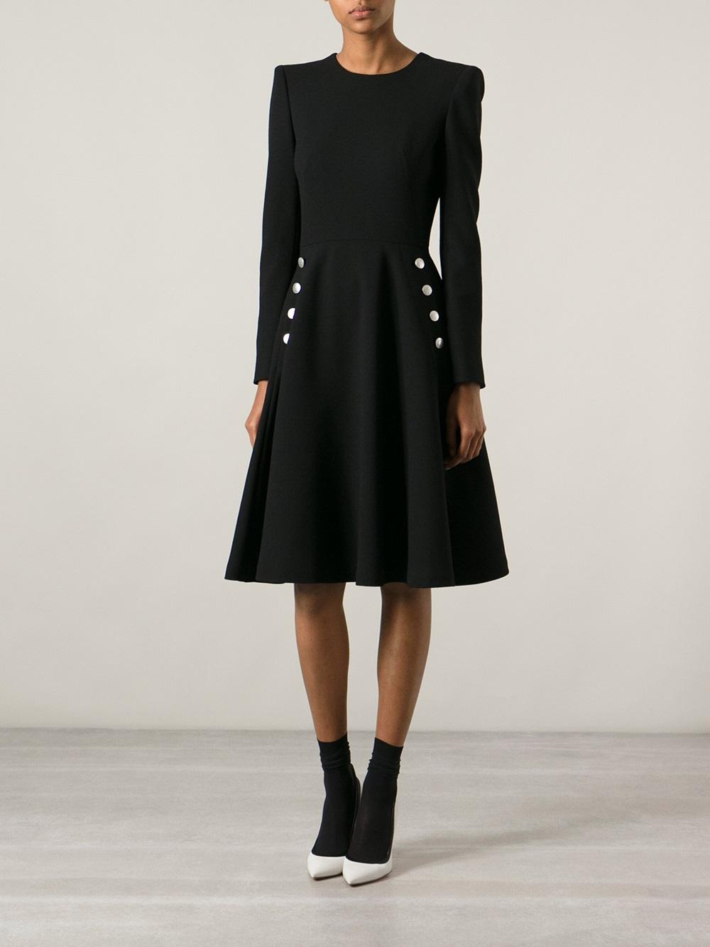 Alexander Mcqueen Fitted Waist Dress In Black Lyst