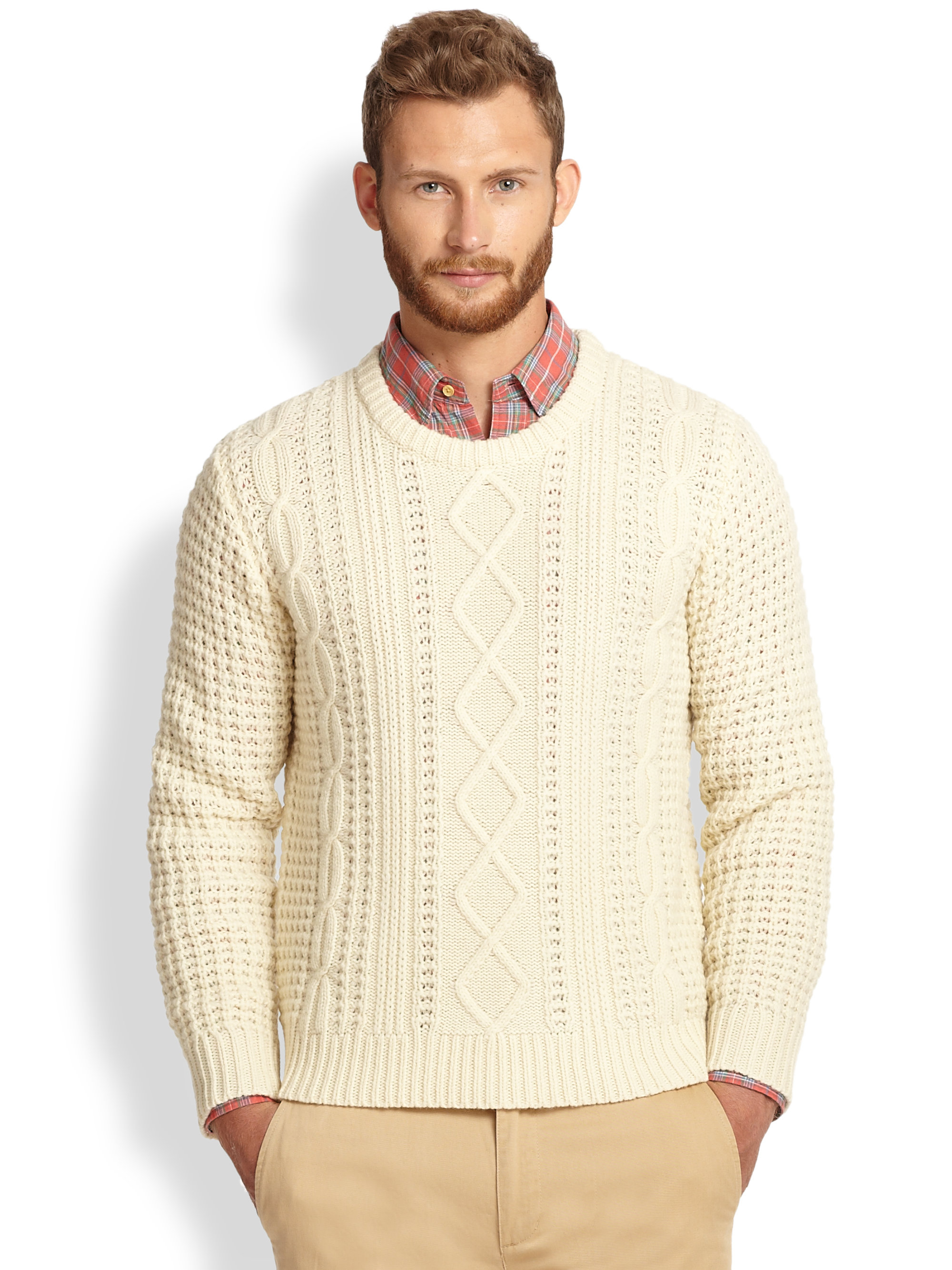 Gant Rugger Lambswool Cable Knit Sweater In Natural For