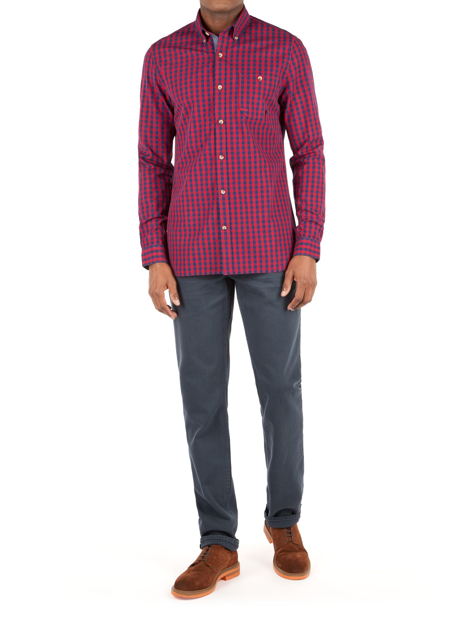Lyst racing green henry poplin check shirt in blue for men for Red and green checked shirt