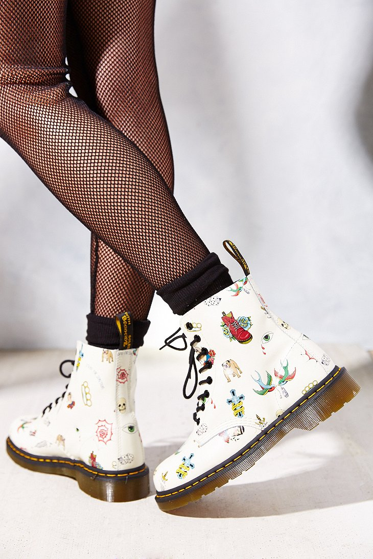 Lyst Dr Martens Tattoo 8 Eye Boot In White