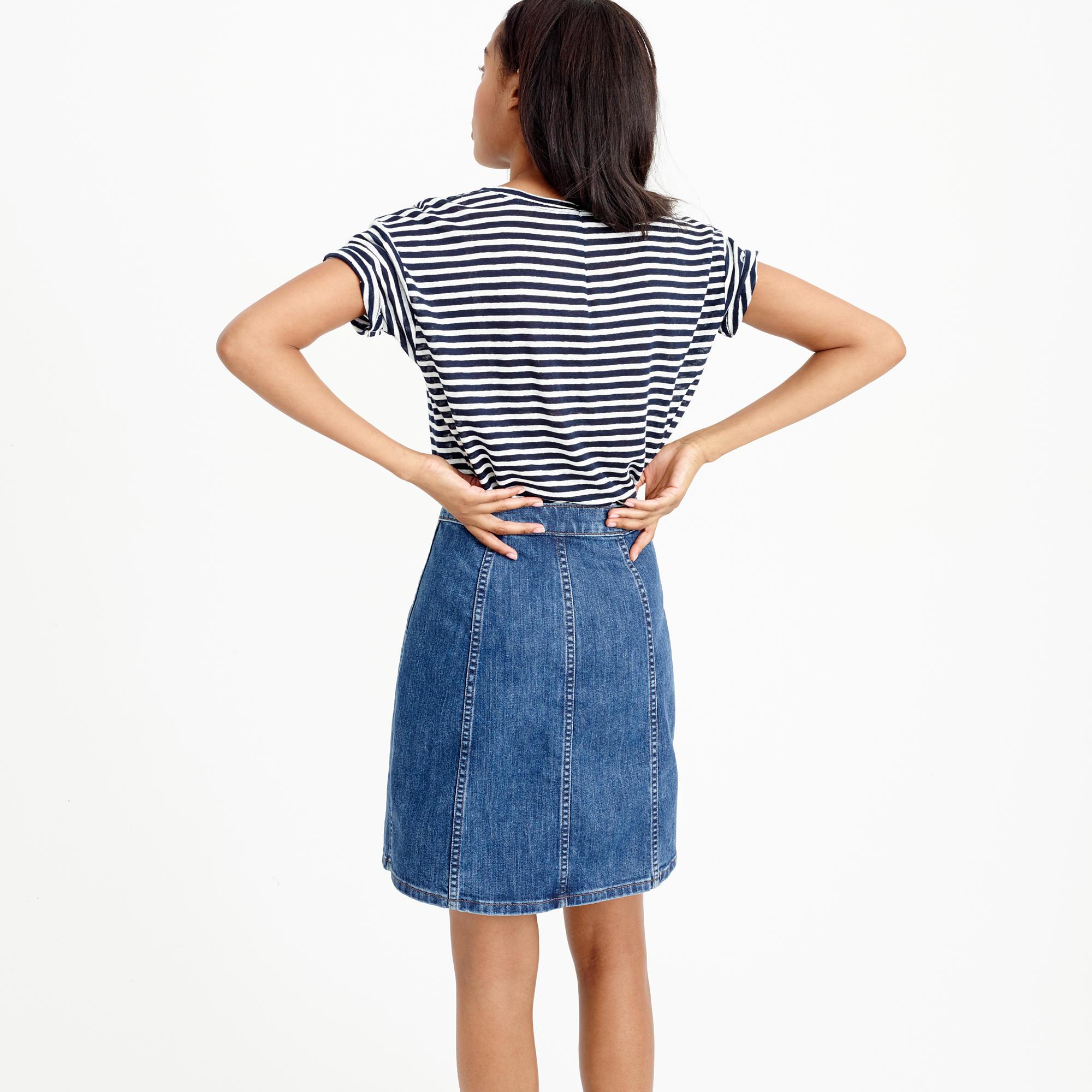 j crew button front denim mini skirt in blue lyst
