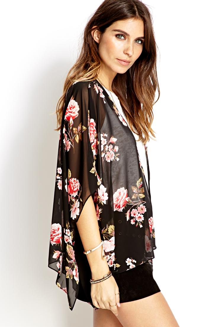 Forever 21 Cherry Blossom Woven Kimono in Black | Lyst