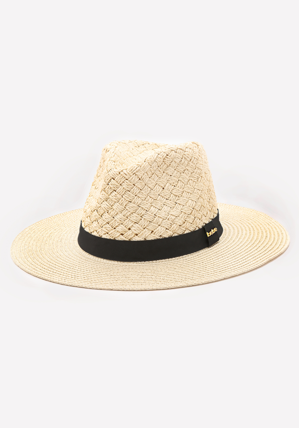 Lyst - Bebe Basket Weave Panama Hat in Natural 7764a9f9f044