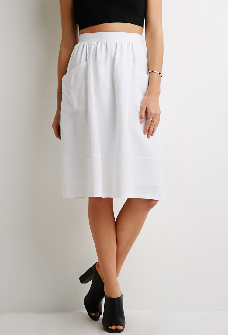 Forever 21 Linen-blend A-line Skirt in White | Lyst