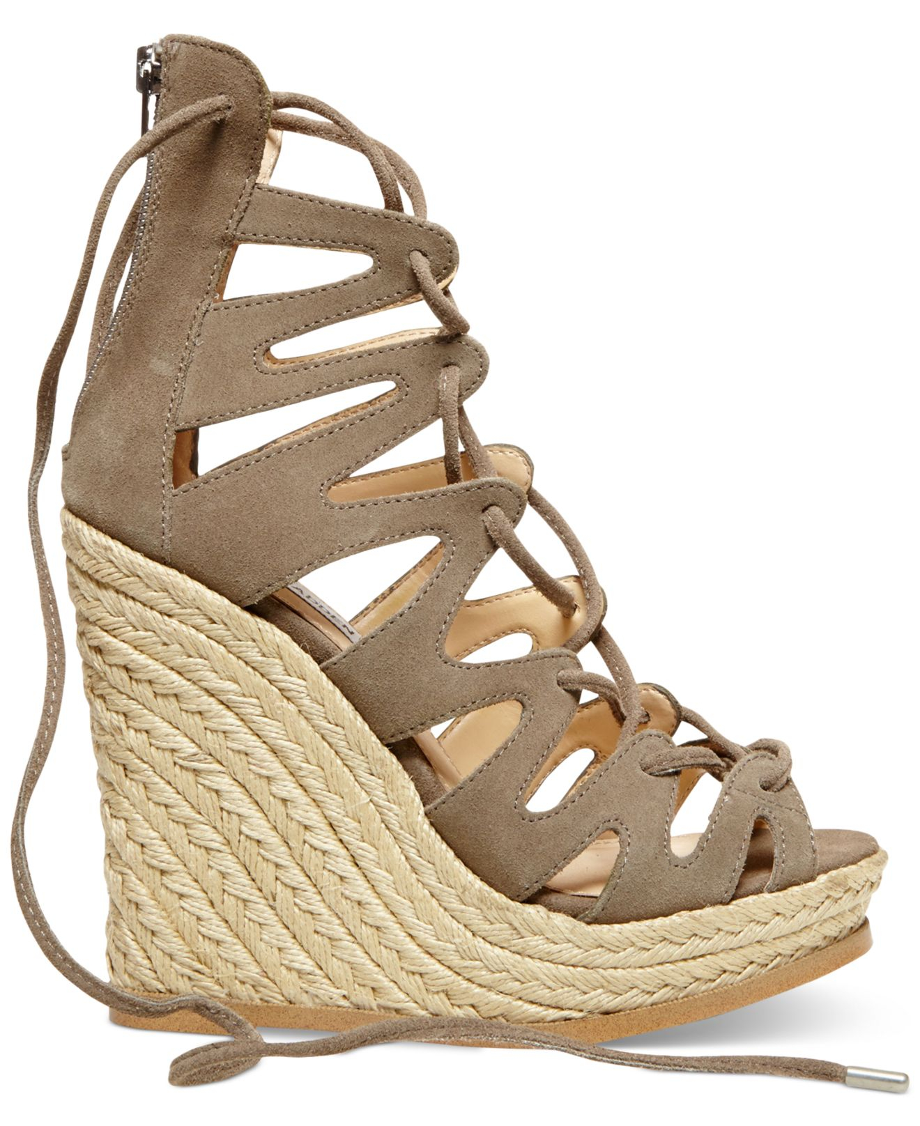 e81b36a216 Steve Madden Women'S Theea Ghillie Platform Wedge Sandals in Brown ...