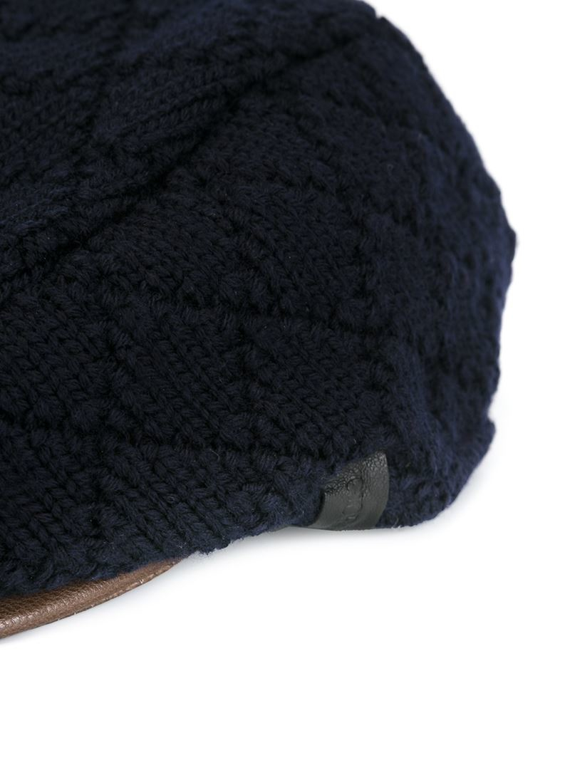 be29cfaf1b5 Lyst - Giorgio Armani Knitted Flat Cap in Blue for Men