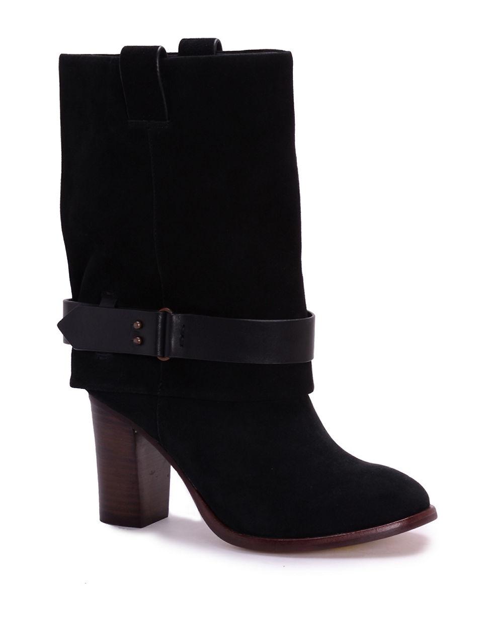 splendid delora suede mid calf boots in black lyst
