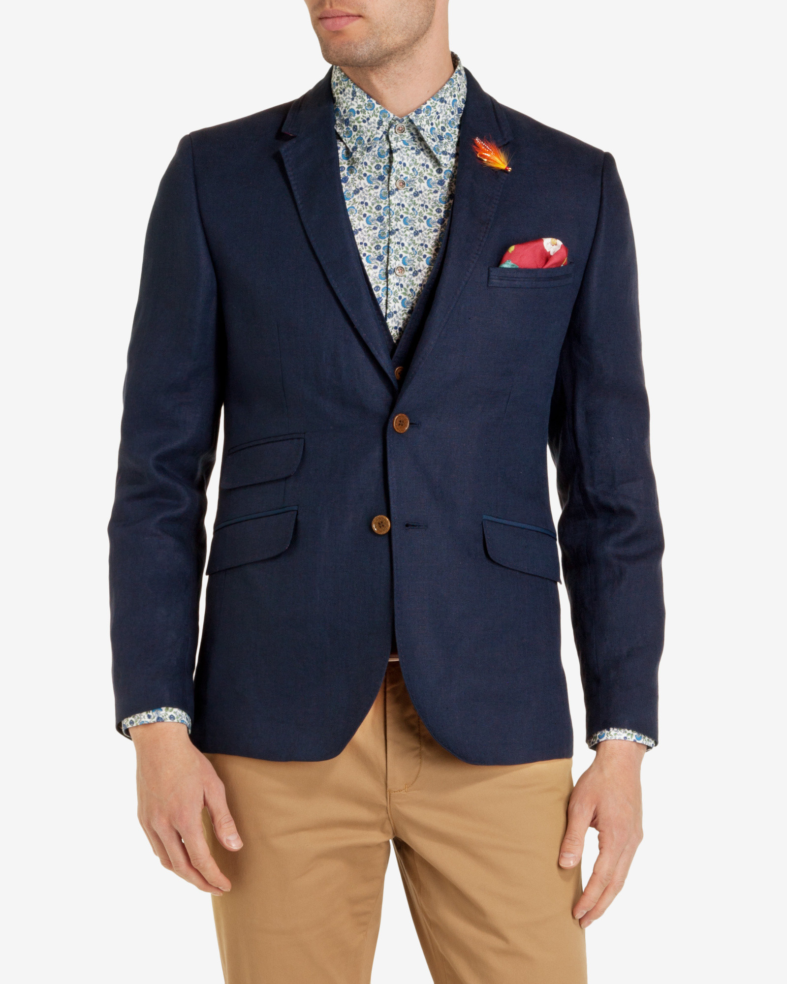 1ef588fa0 Ted Baker Tight Lines Blazer in Blue for Men - Lyst