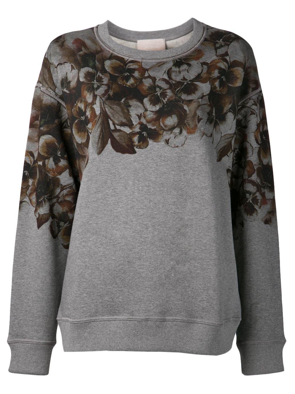 Lyst Jason Wu Floral Print Sweatshirt In Gray
