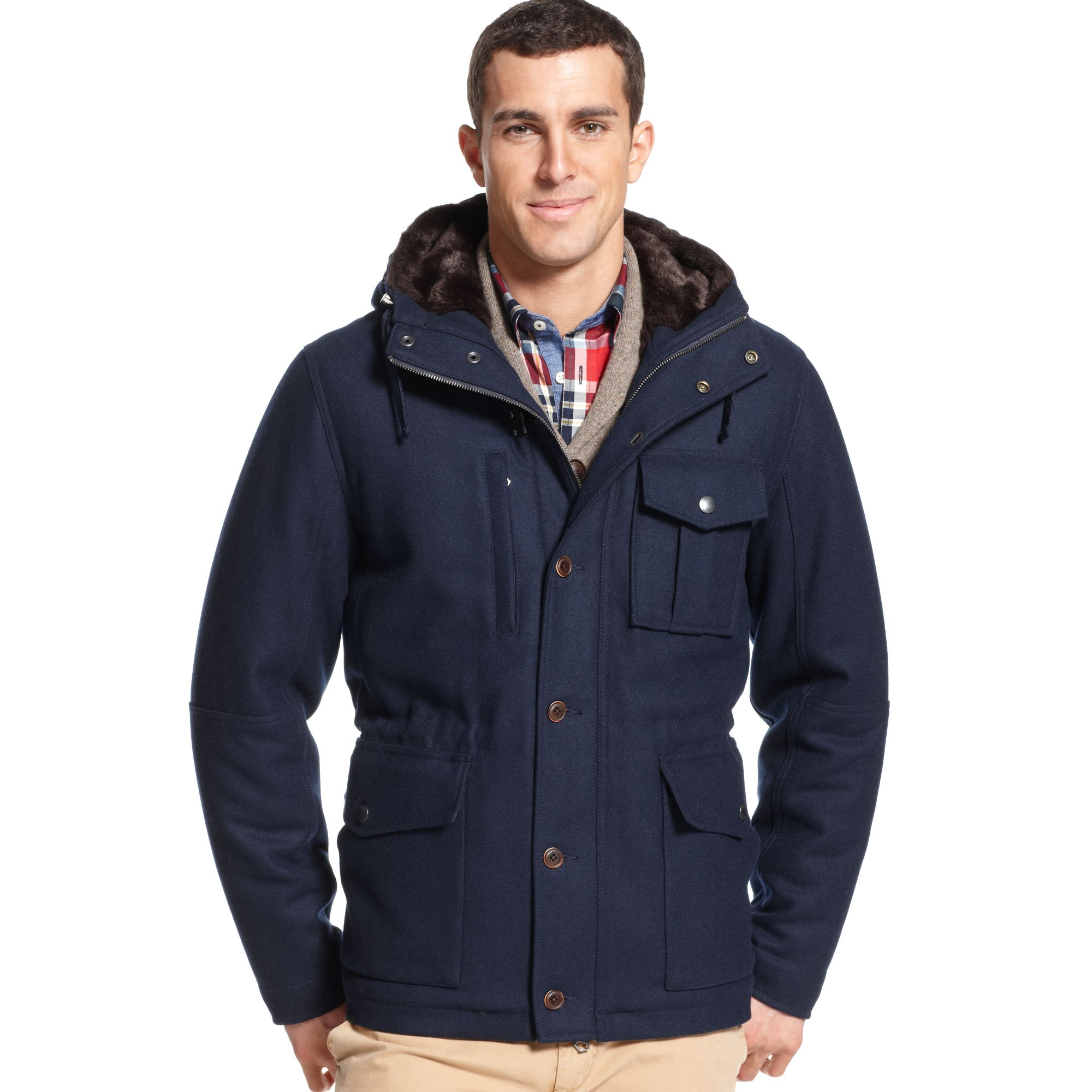 tommy hilfiger marshall wool hooded jacket in blue for men. Black Bedroom Furniture Sets. Home Design Ideas