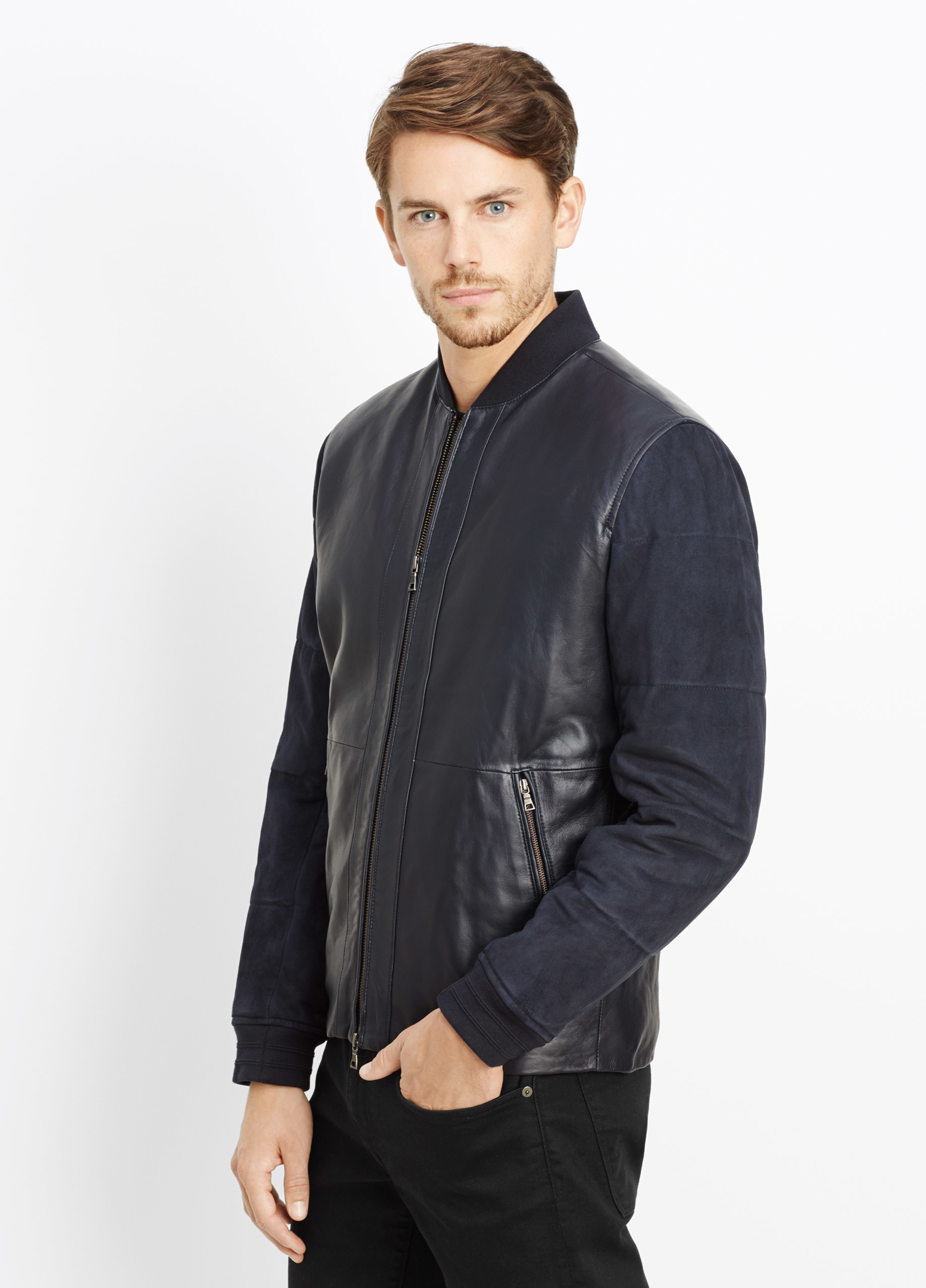 Lyst Vince Quilted Leather And Suede Jacket In Blue For Men