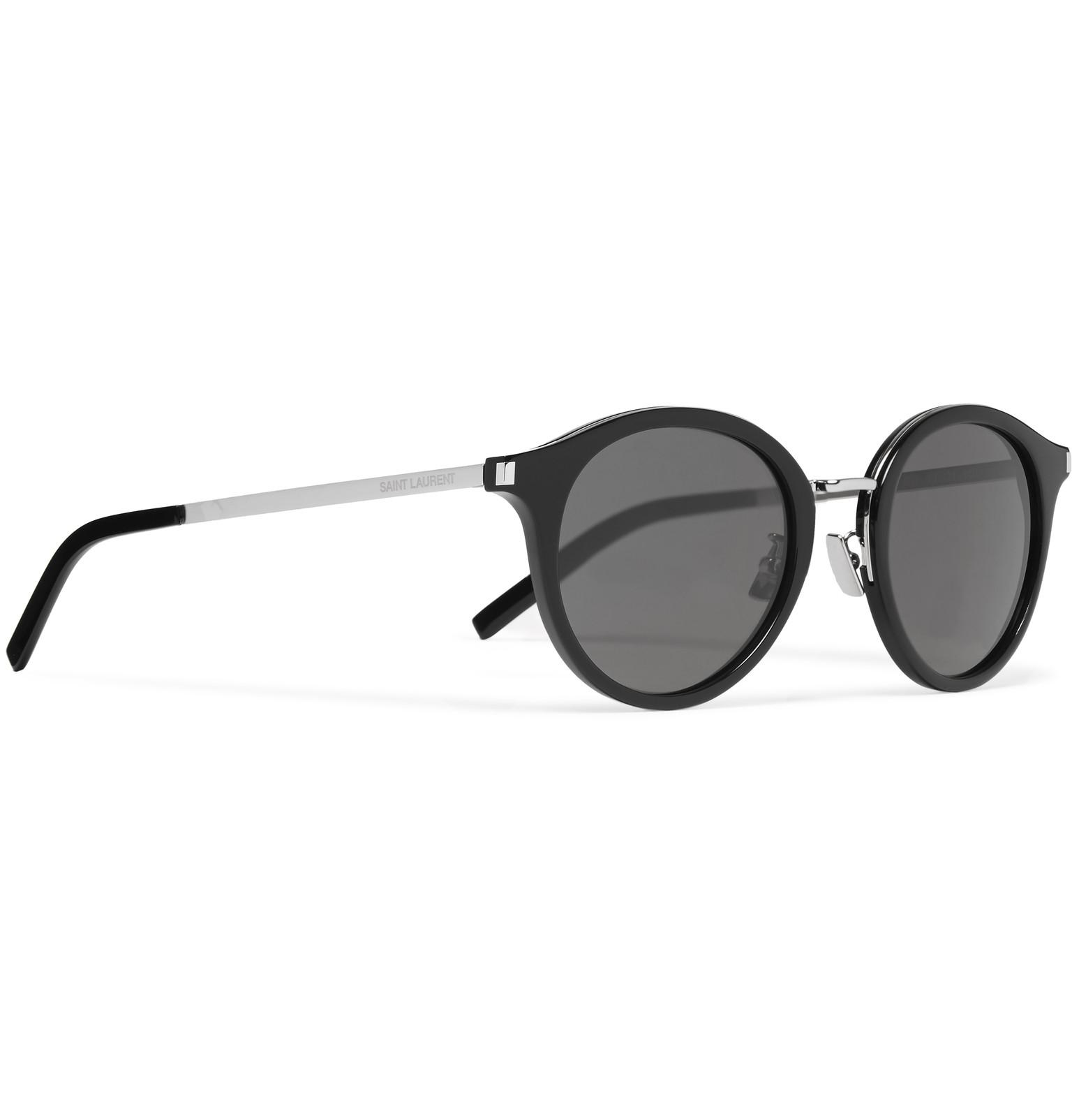 e53cf306ec4 Saint Laurent Round-frame Acetate And Silver-tone Sunglasses in ...