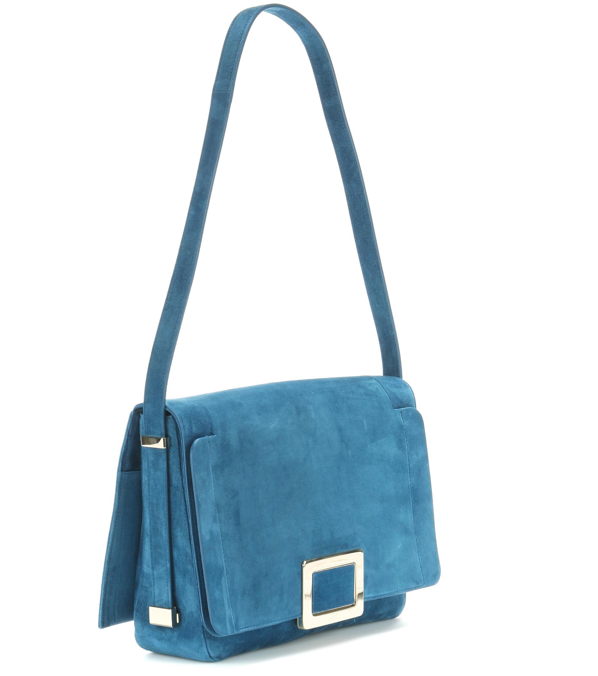 Lyst - Roger Vivier Ines Suede Shoulder Bag in Blue 894f1f1d39bfd