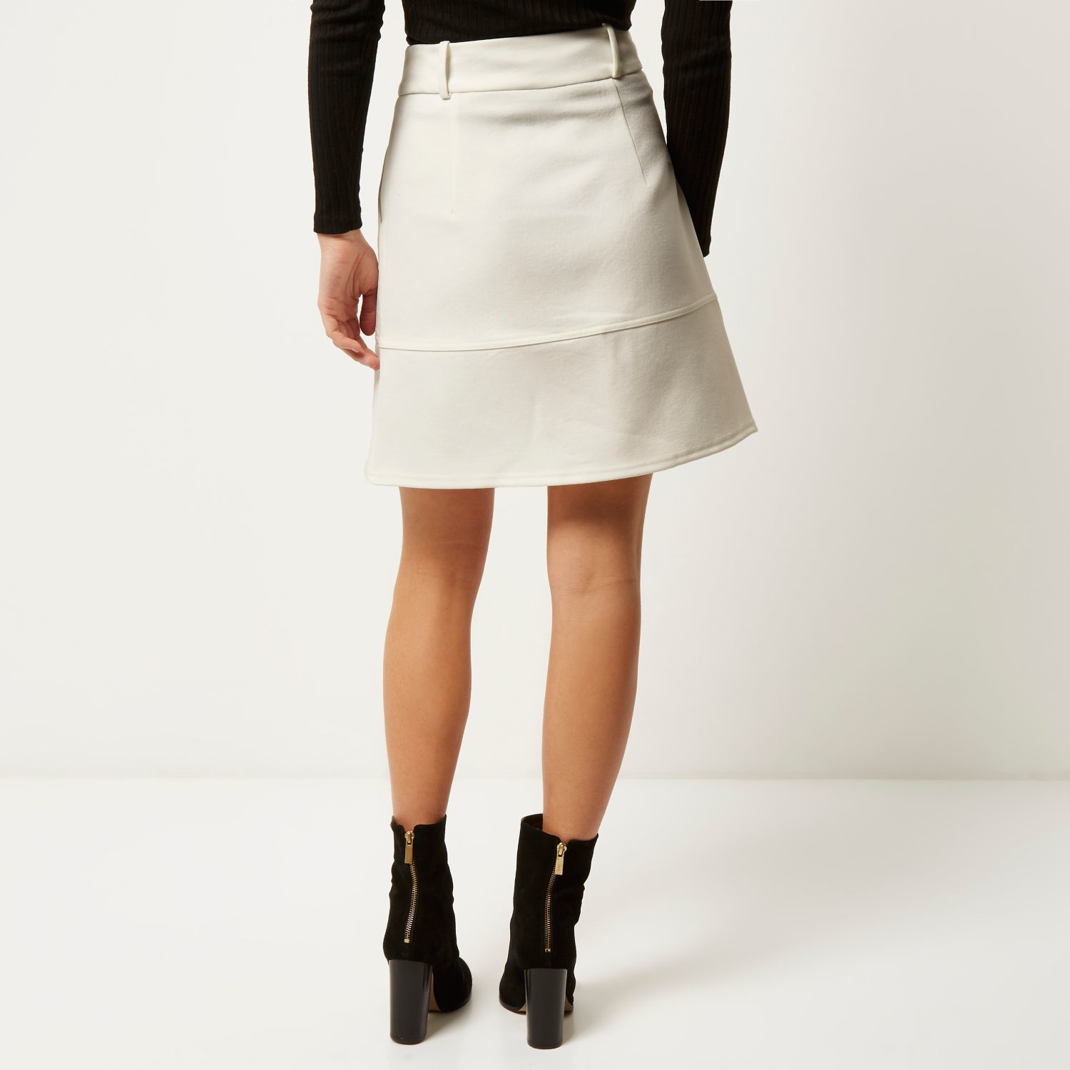 River island Cream Zip-up A-line Skirt in Natural | Lyst