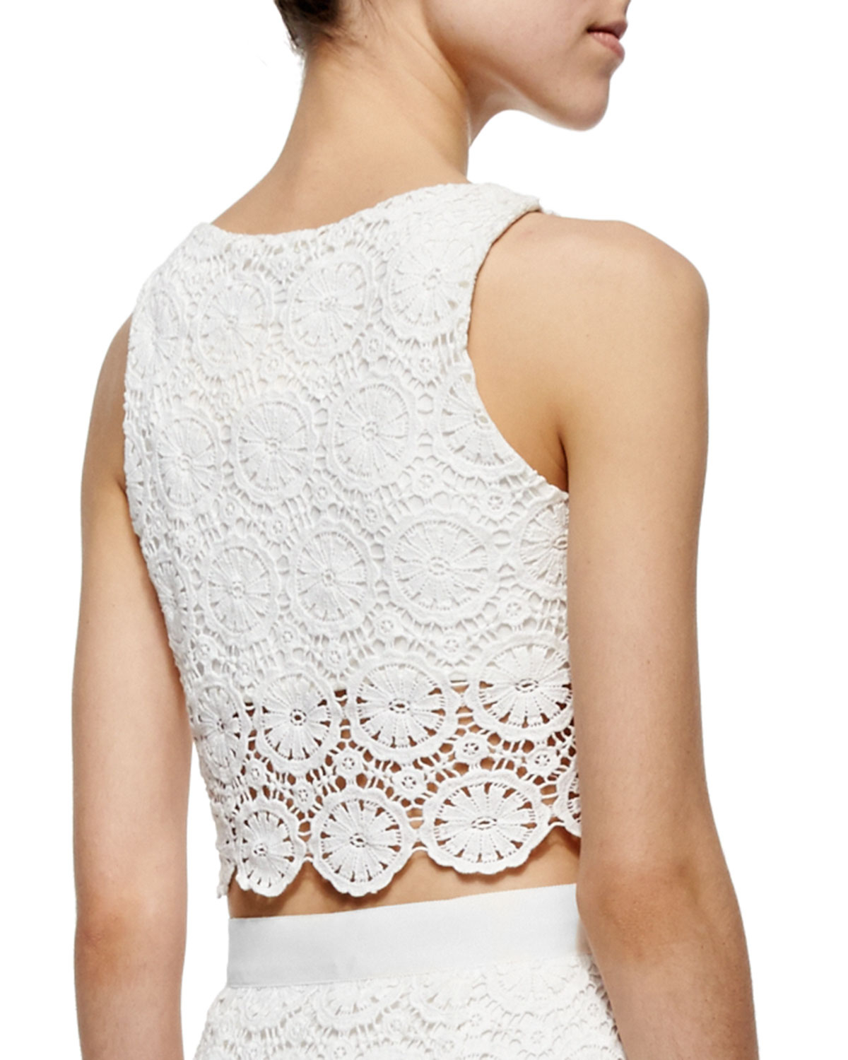 e2fb65d8e58 Miguelina Rosi Floral-lace Crop Top in White - Lyst