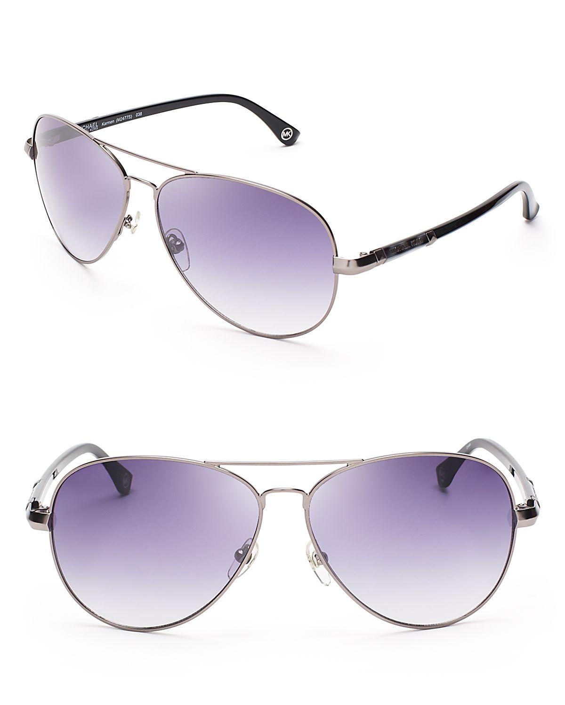 875eee487f5 Lyst - Michael Kors Karmen Aviator Sunglasses in Metallic