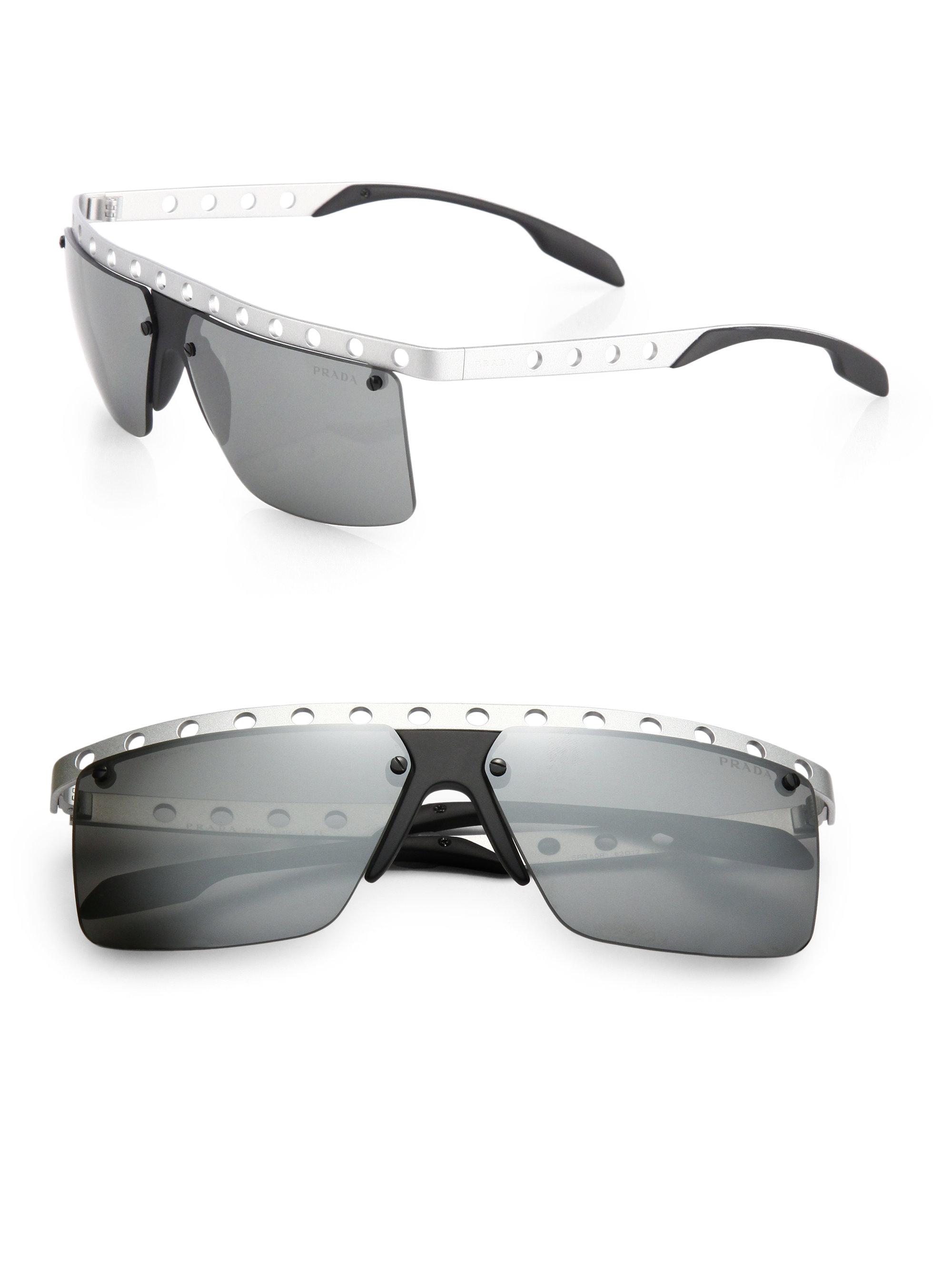 608979054a ... black rectangular aviator sunglasses mens accessories 9f548 7d0ff   cheap lyst prada 62mm perforated metal rimless rectangle sunglasses in  3f880 bed61