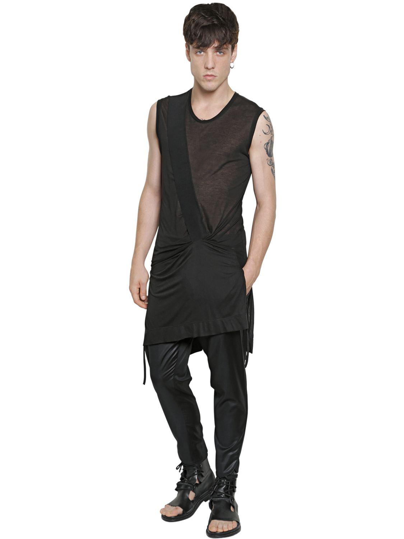 Lyst tom rebl sleeveless extra long cotton t shirt in black for men for Extra long dress shirts