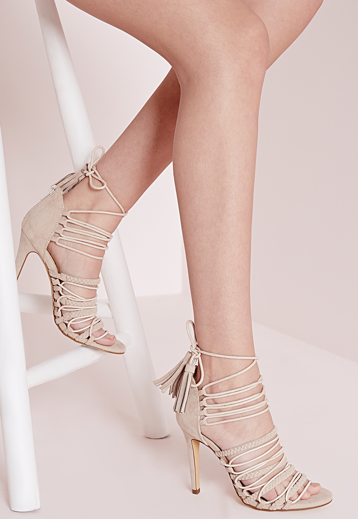 12e9c9b5fab Missguided Ultra Strappy Lace Up Heeled Sandals Nude in Natural - Lyst
