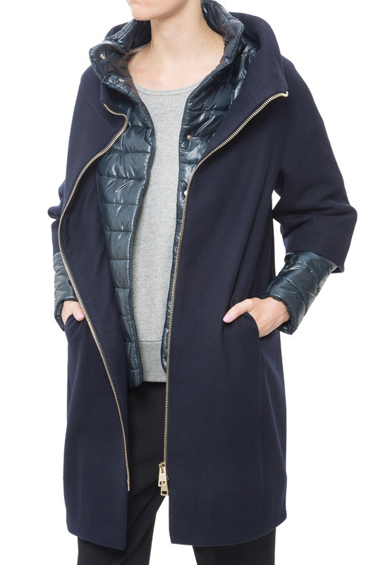 Herno Removable-Sleeve Wool Coat in Blue
