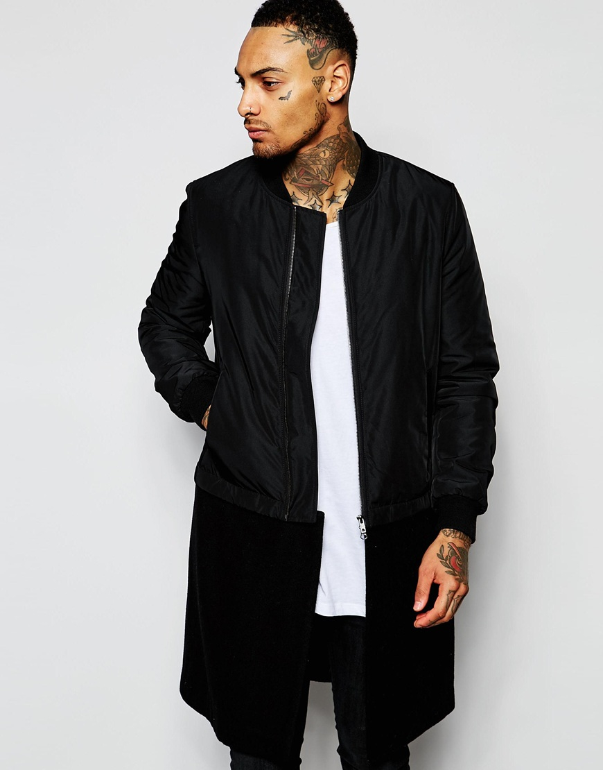 Lyst Asos Longline Bomber Jacket With Detachable Wool