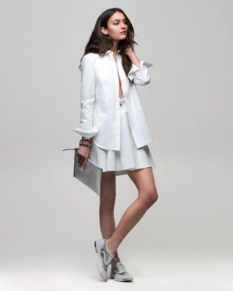 Derek lam 10 crosby cotton shirt dress in white lyst for Derek lam 10 crosby shirt dress