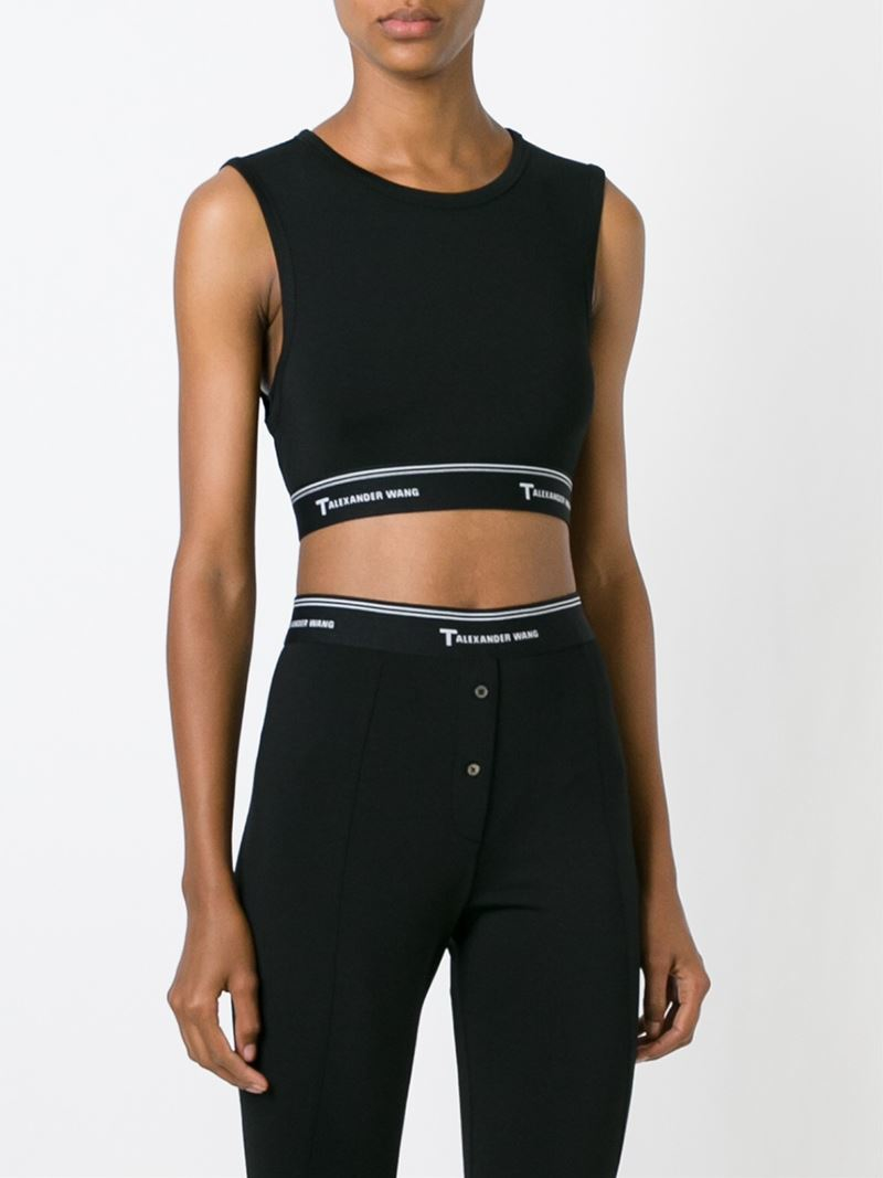 f7690f81b41d T By Alexander Wang Cut-out Back Cropped Top in Black - Lyst