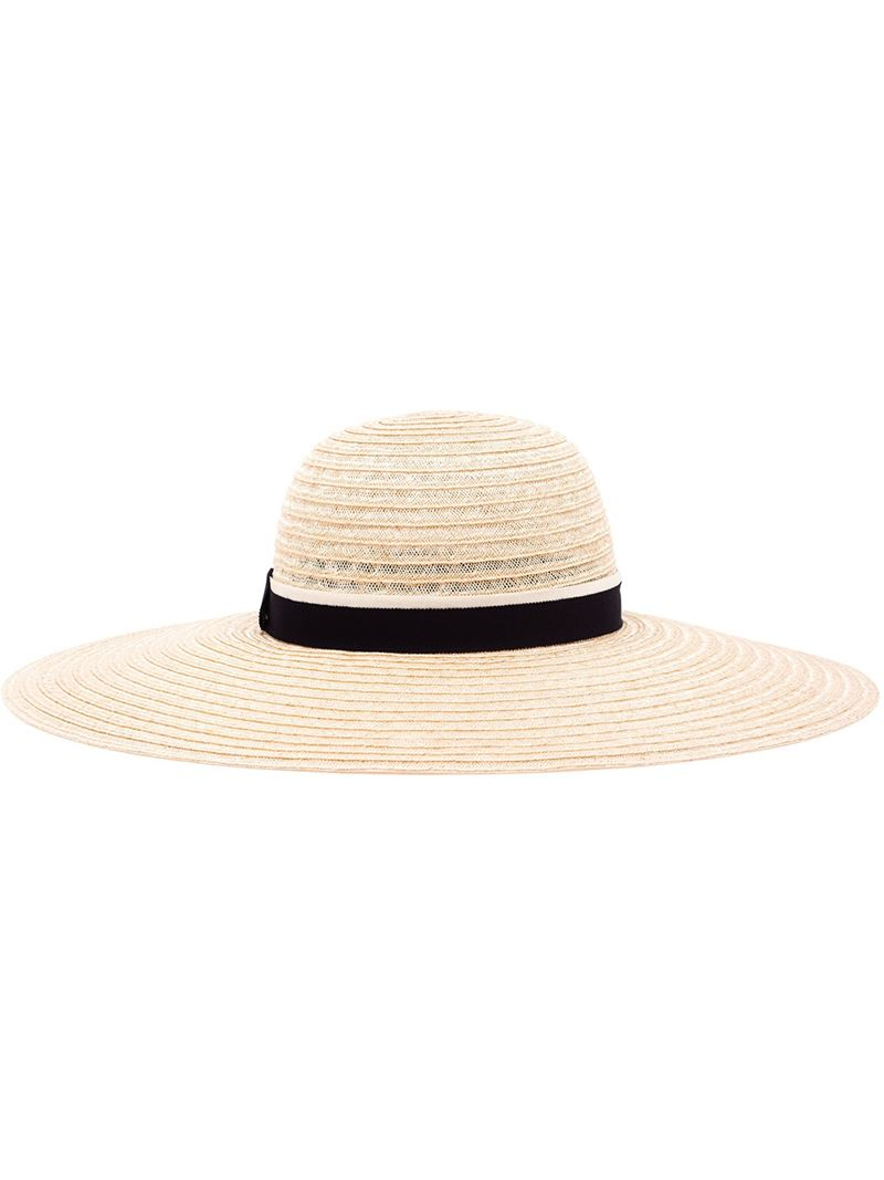 Lyst maison michel blanche straw hat in blue for Maison michel