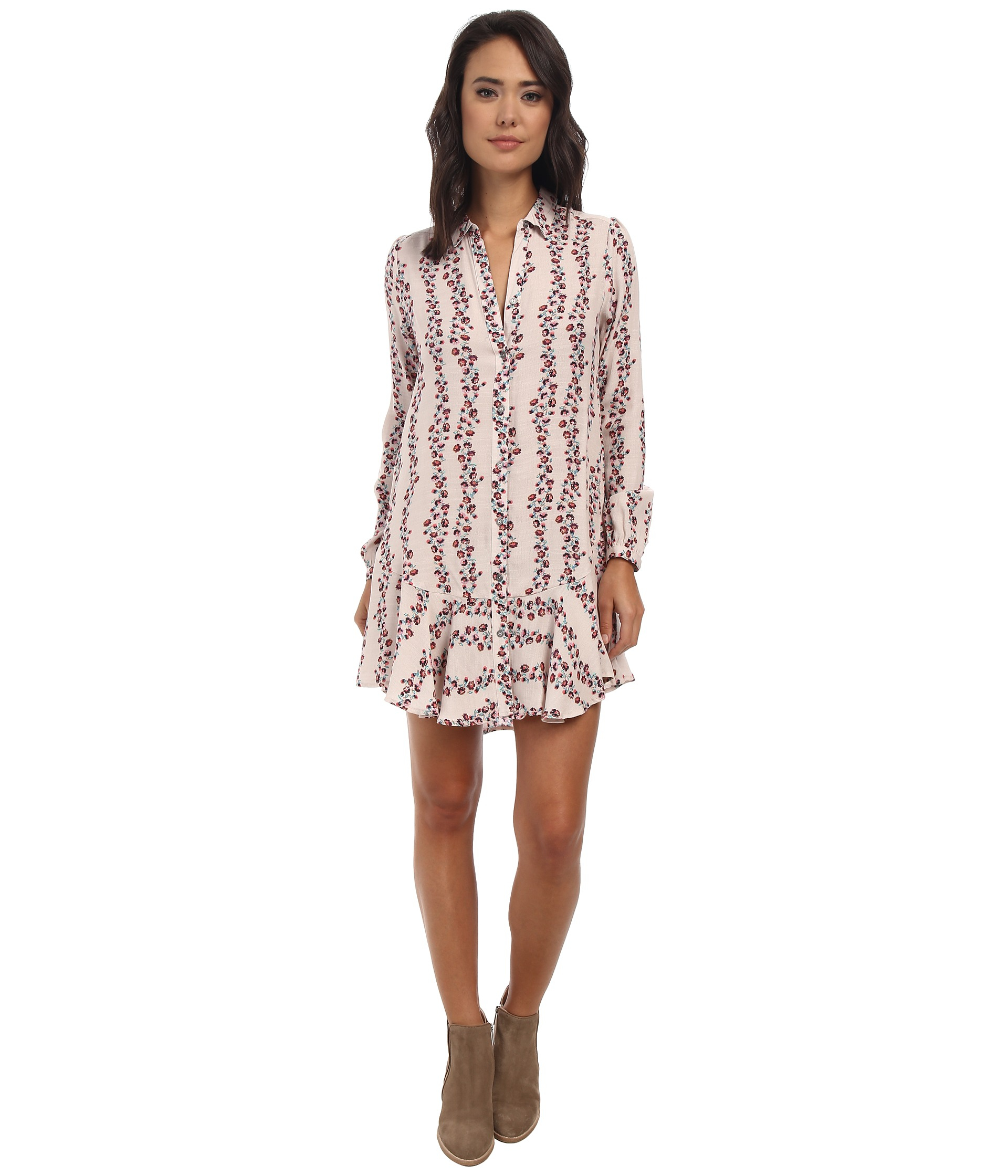 746ac1ad2a85b Lyst - Free People Button Down Shirtdress in Natural
