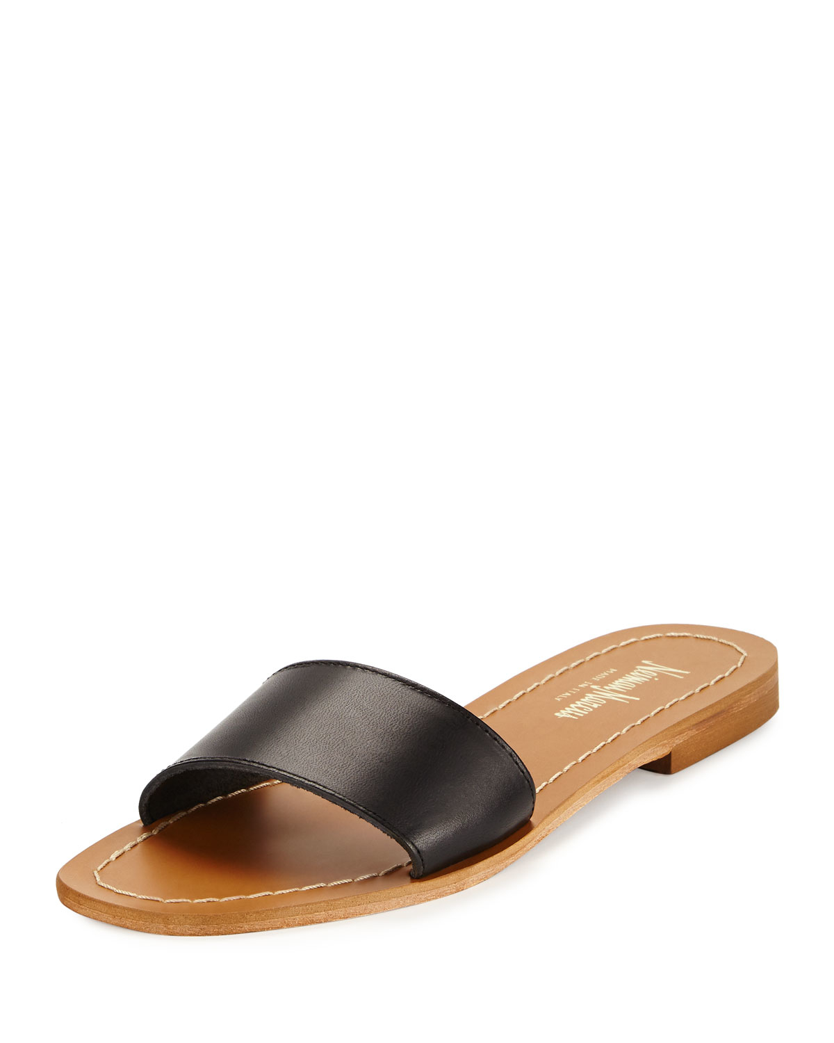 lyst neiman marcus filomena leather slide sandal in brown
