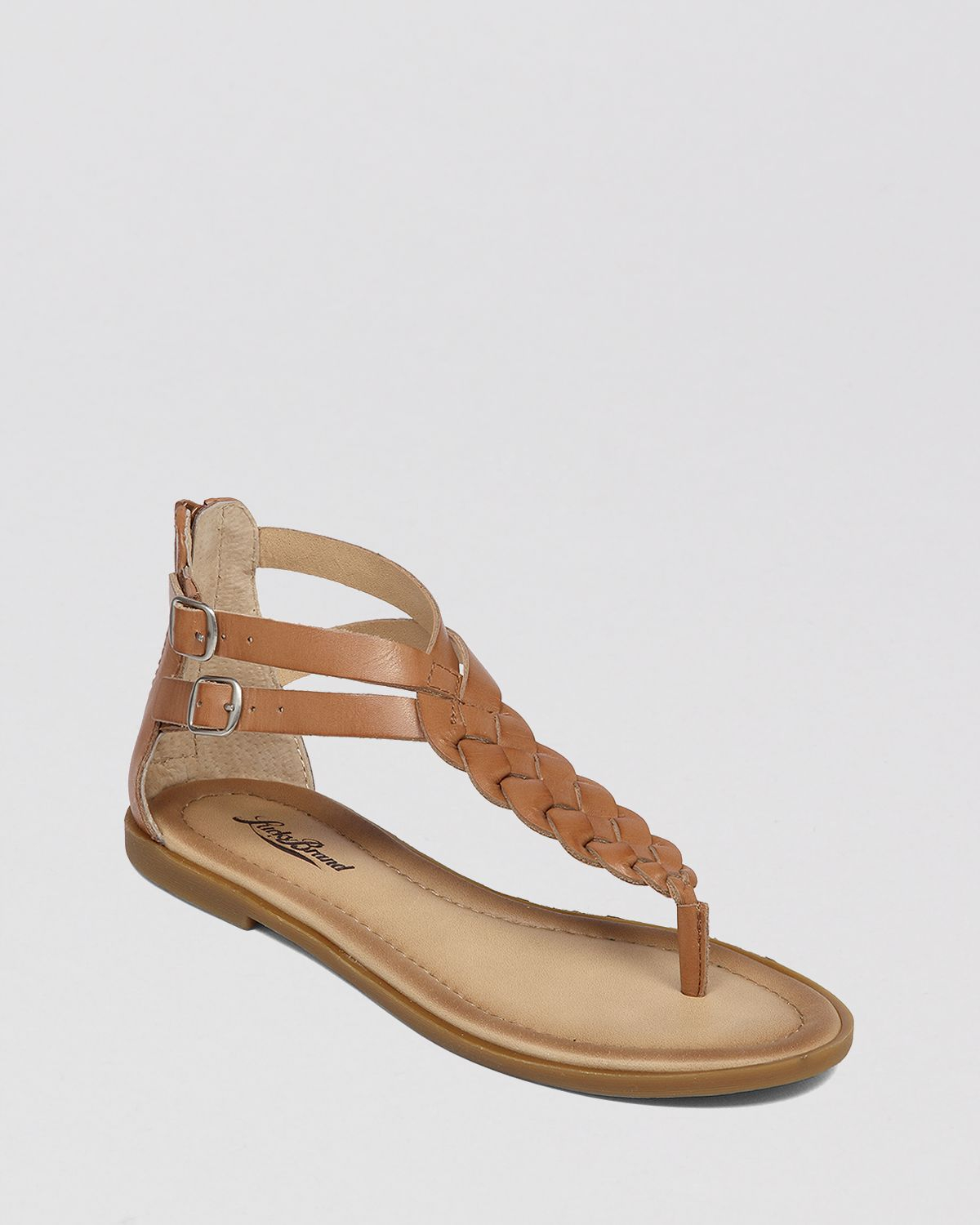Lucky Brand Flat Thong Sandals Carrolle In Brown (Dark Camel) | Lyst