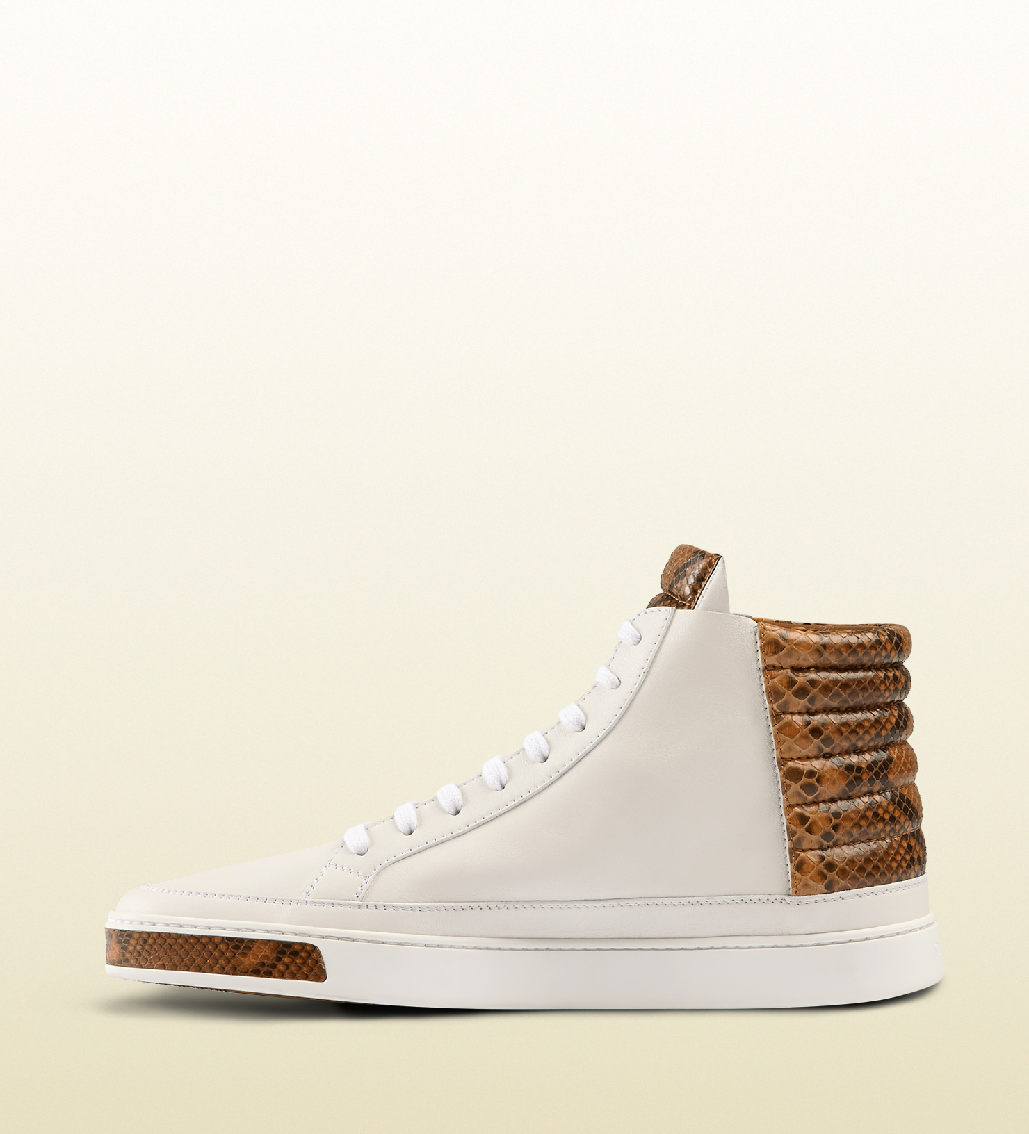 7ea998eb8f0 Lyst - Gucci Leather And Python High-top Sneaker in White for Men