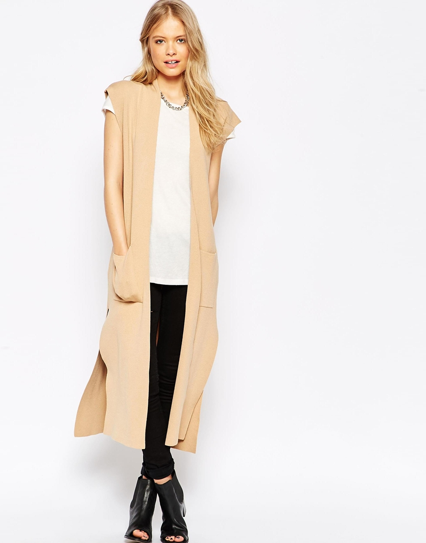 Asos Sleeveless Longline Cardigan In Structured Knit With Side ...