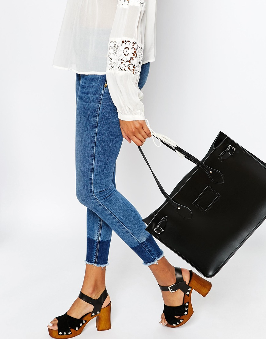 Cambridge satchel company The Leather East West Tote Bag in Black ...