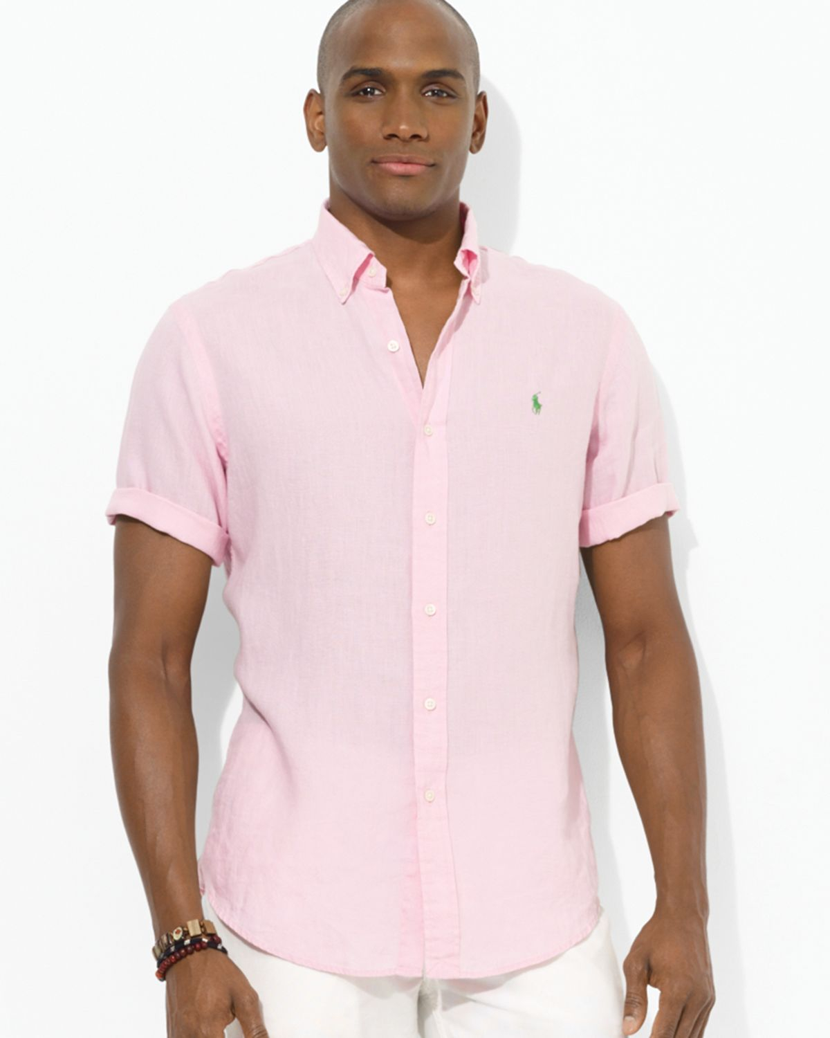 089a3c41f Ralph Lauren Custom Fit Short Sleeved Linen Sport Shirt in Pink for ...