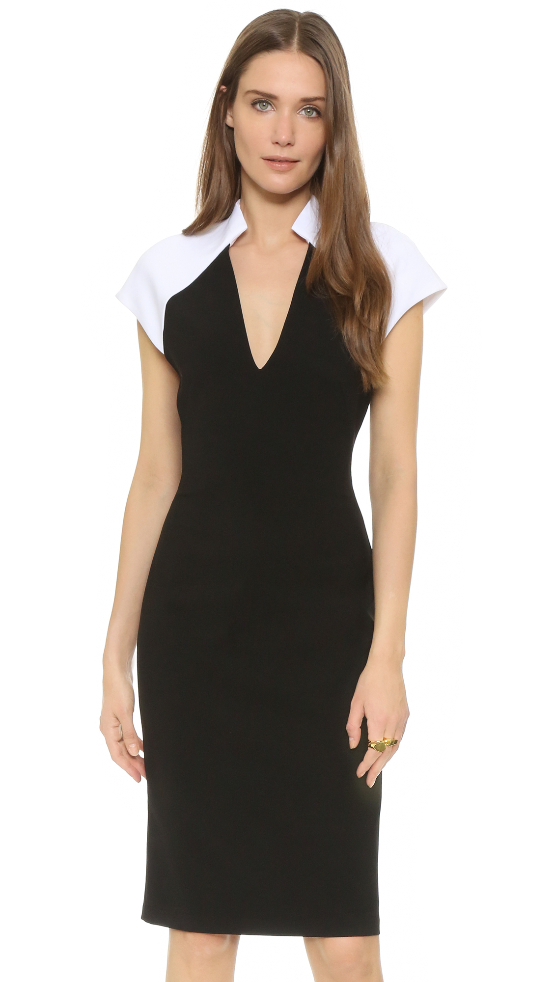 Lyst Alice Olivia Inna Dress With Contrast Sleeves In