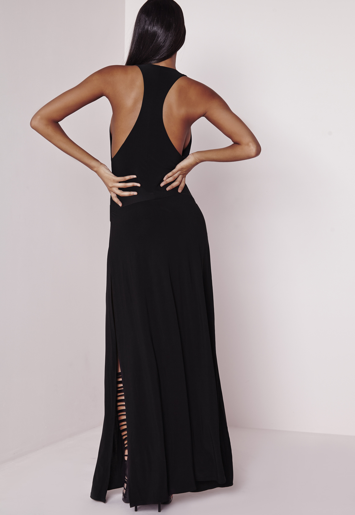 f16d751274 Missguided Plunge Maxi Dress Black in Black - Lyst