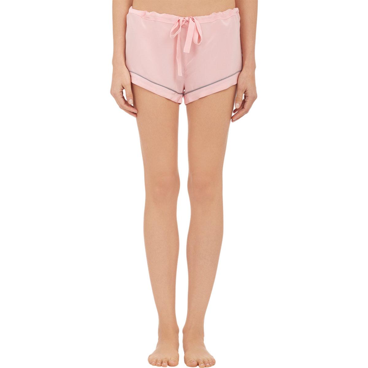 Lyst - Steven Alan Crepe De Chine Drawstring Pajama Shorts in Pink 6a0cb0cbd