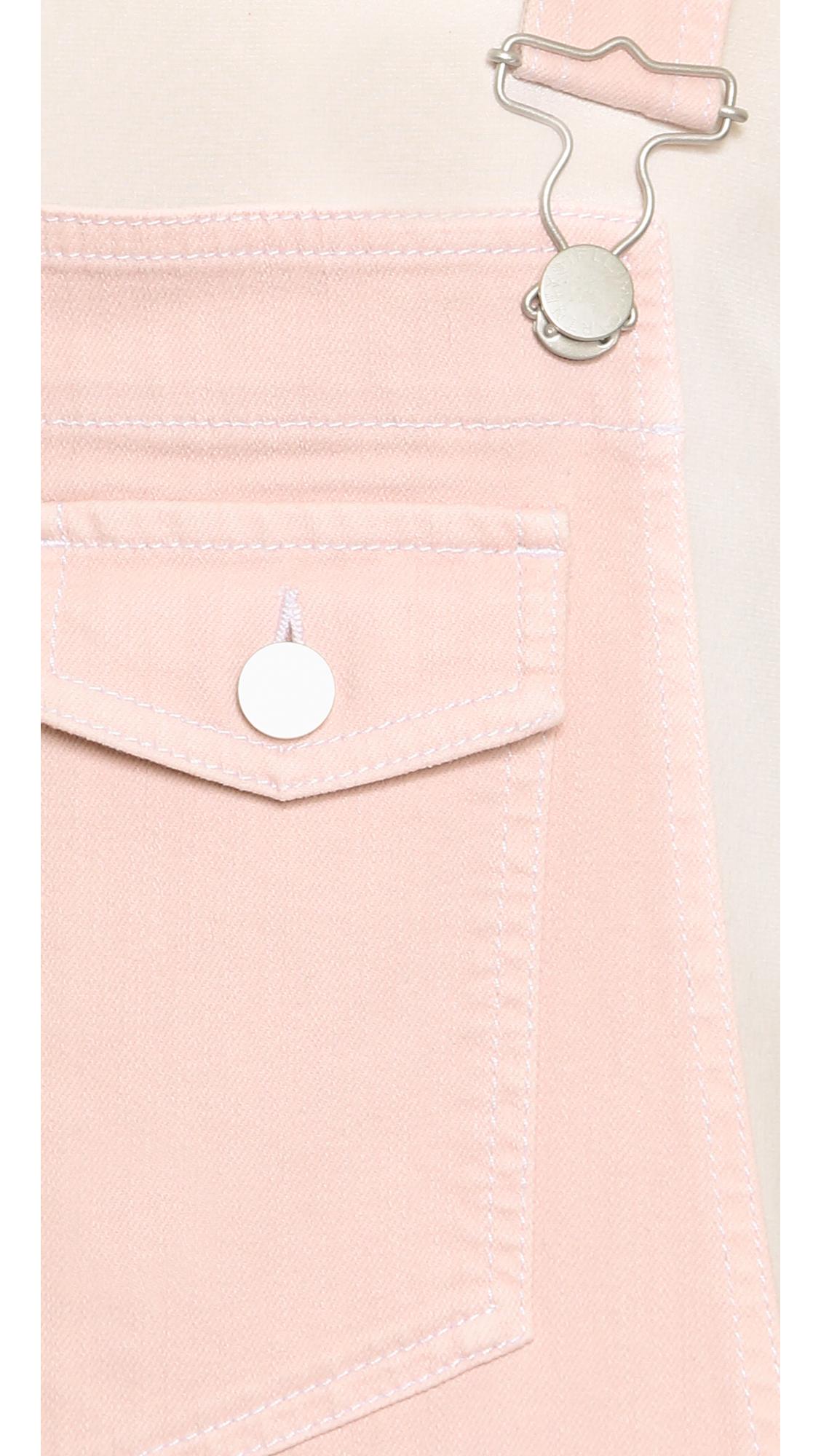 Light Pinky Brown Lip Makeup: Stella McCartney Denim Overall Shorts