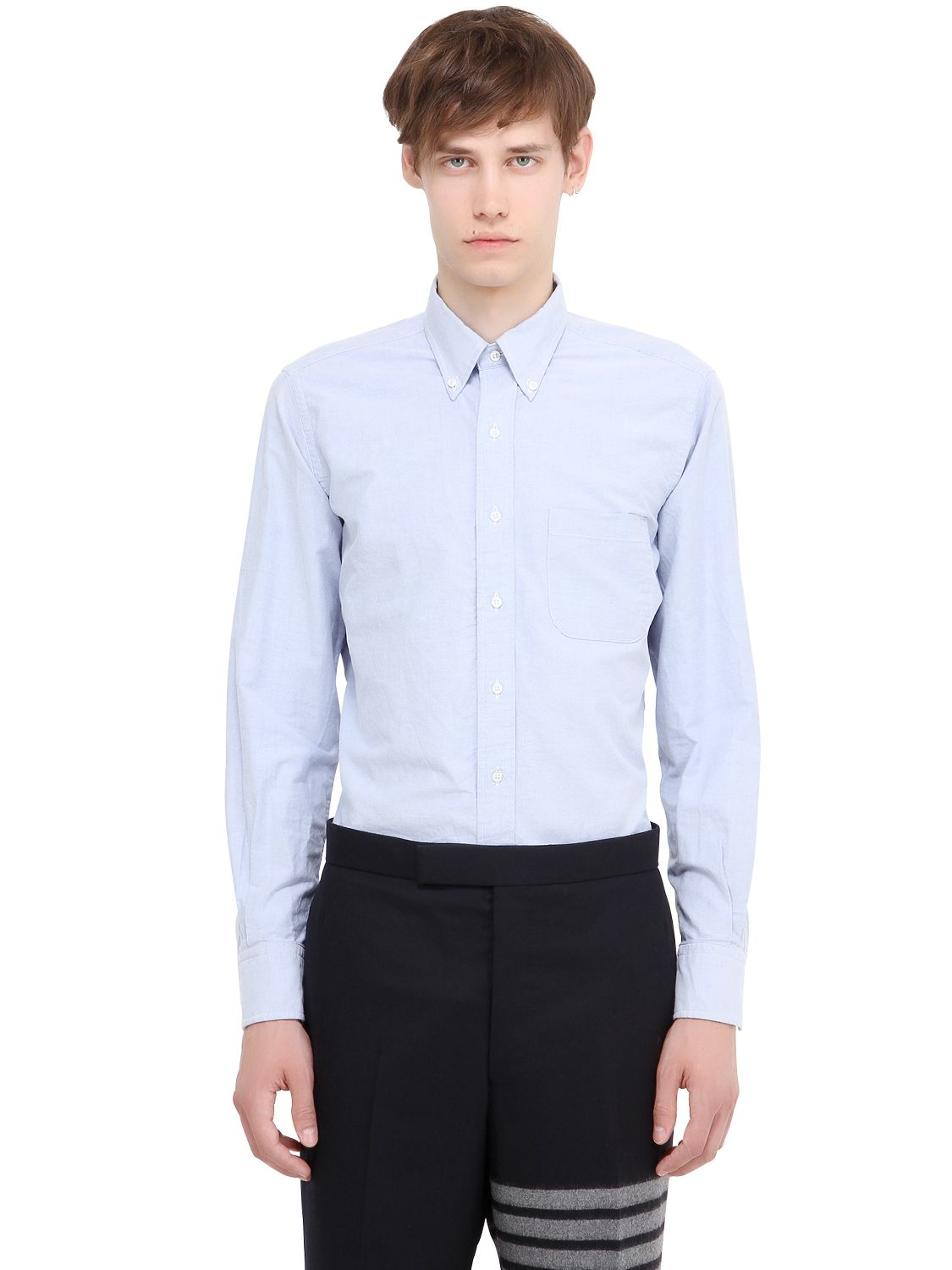 Lyst Thom Browne Button Down Cotton Oxford Shirt In Blue