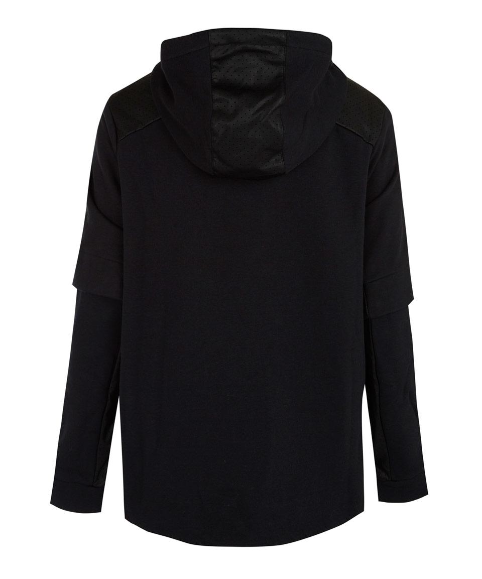 Lyst Nike Black Perforated Full Zip Hoodie Jacket In Black