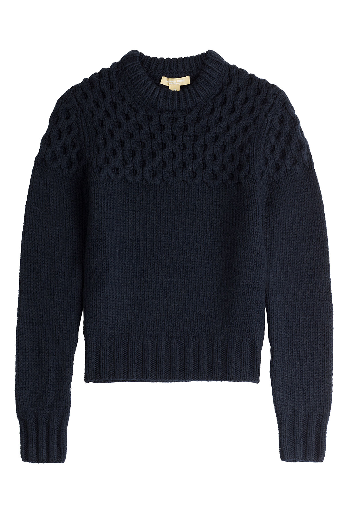 michael kors merino wool pullover with textured yoke in blue lyst. Black Bedroom Furniture Sets. Home Design Ideas