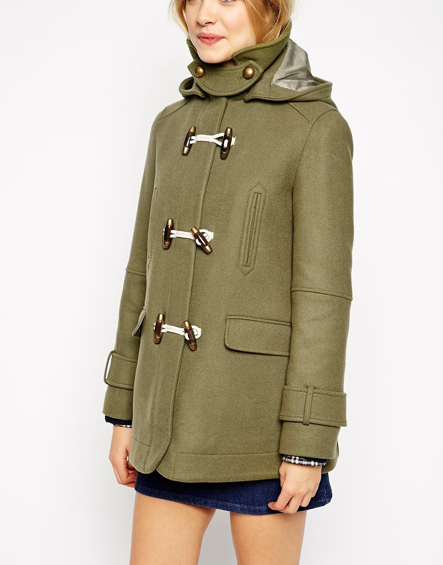 Asos Swing Duffle Coat In Wool Twill in Green | Lyst
