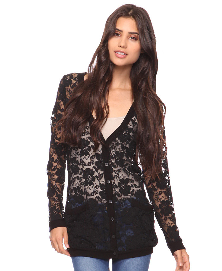 Forever 21 Longline Lace Cardigan in Black | Lyst