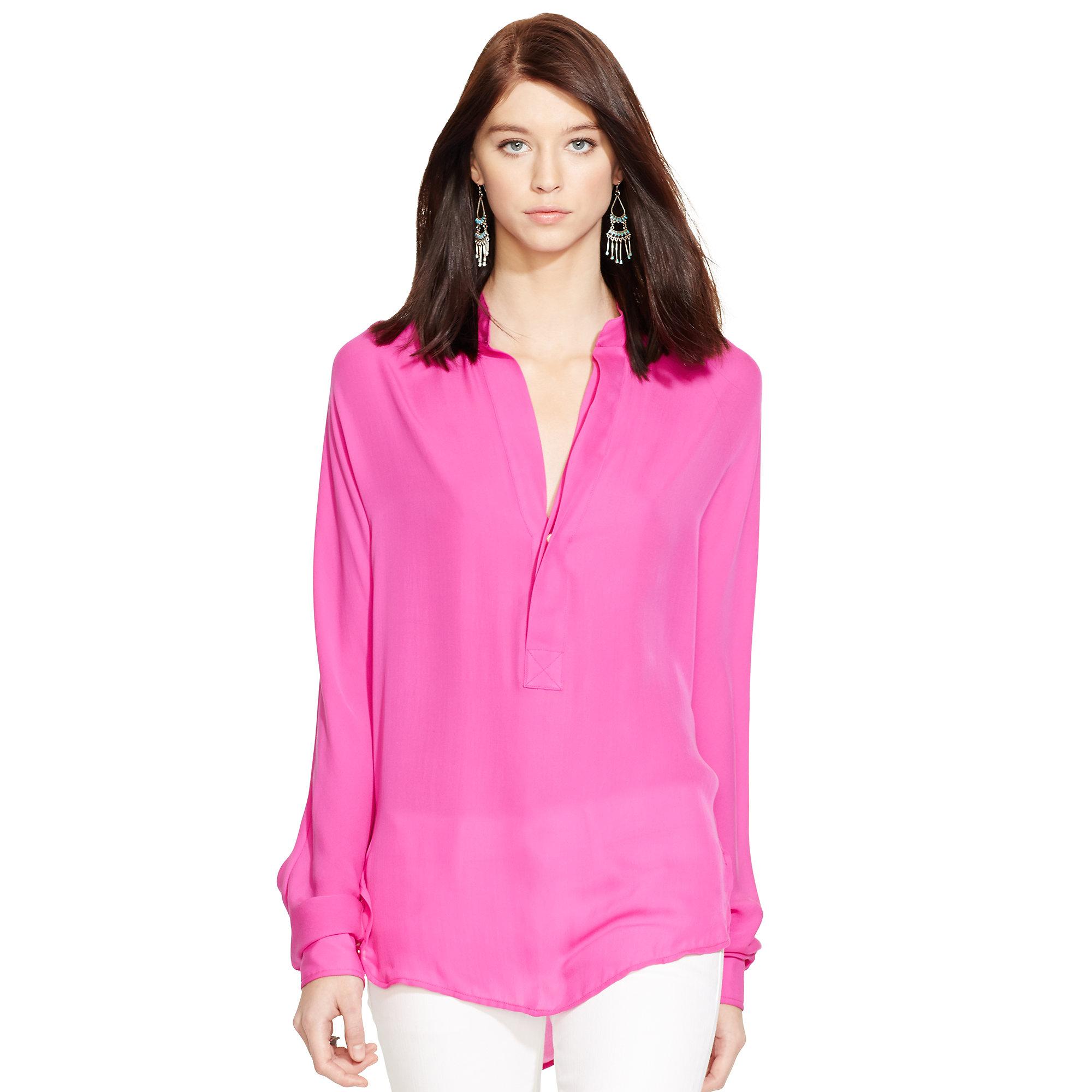 80e46c09f9cb54 Lyst - Polo Ralph Lauren Silk Georgette Blouse in Pink
