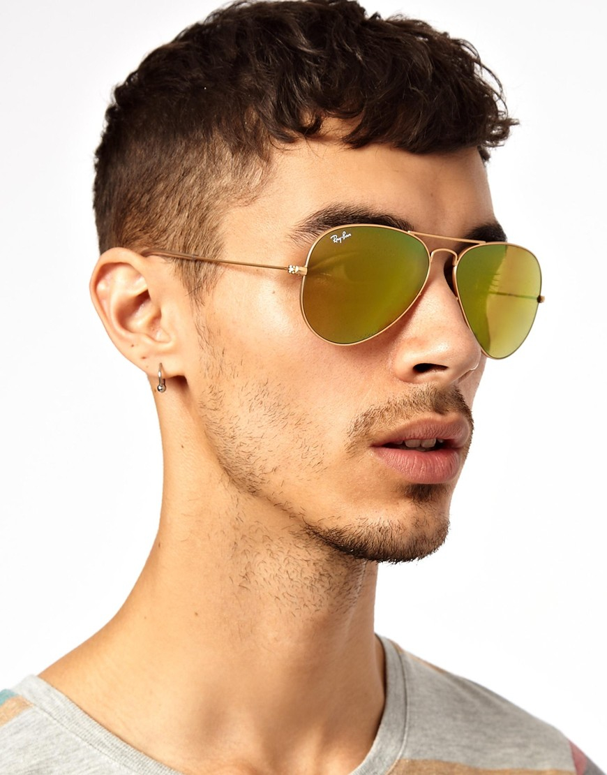 Lyst Ray Ban Aviator Sunglasses In Yellow For Men