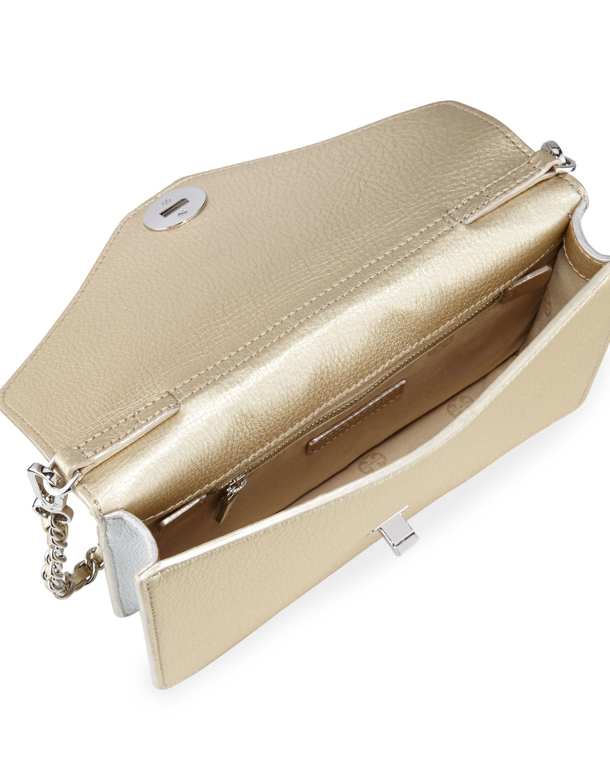 0a3fbd1107 Tory Burch Kira Metallic Leather Envelope Clutch Bag in Metallic - Lyst