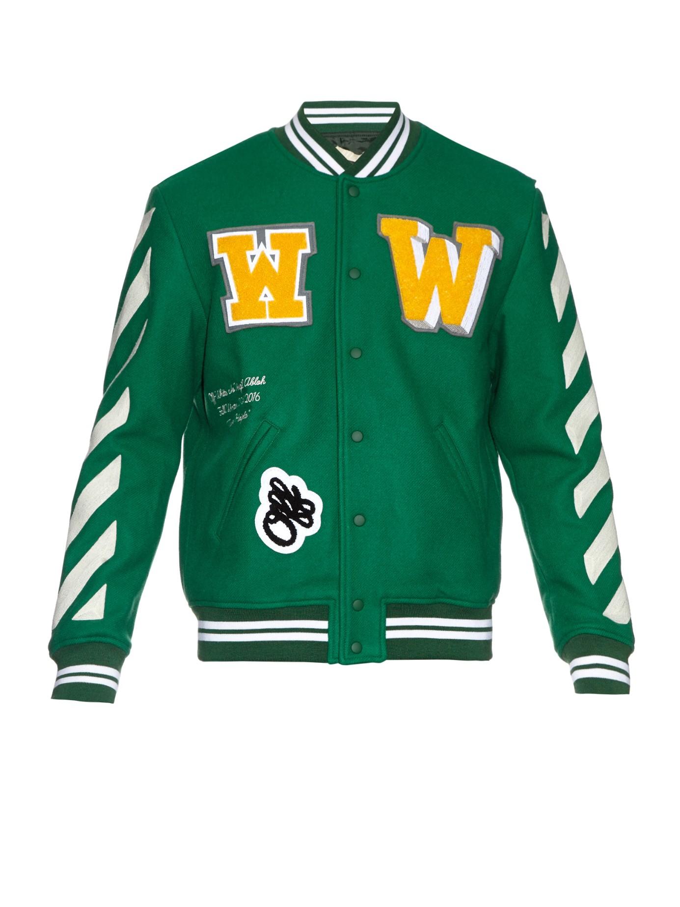 7dcef5a25faa Lyst - Off-White c o Virgil Abloh Letterman Wool-blend Varsity ...