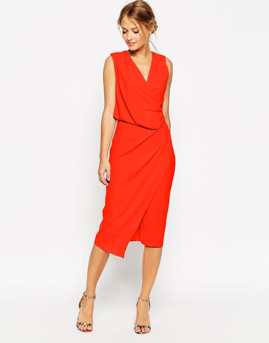 Asos Wedding Wrap Drape Midi Dress in Red