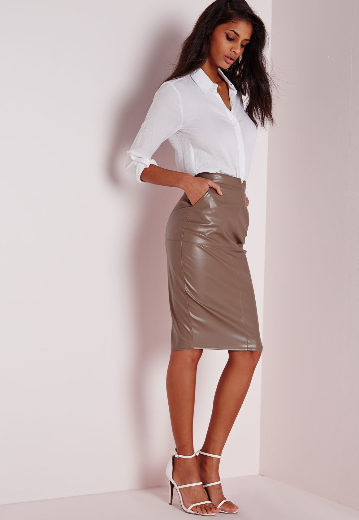 Missguided Tall Back Split Faux Leather Midi Skirt Taupe in Gray ...
